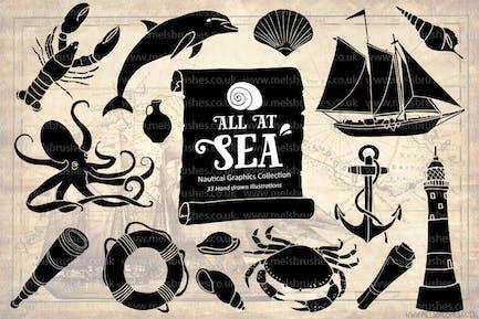 Conjunto de ilustración de Mar náutico dibujado Kit Mano