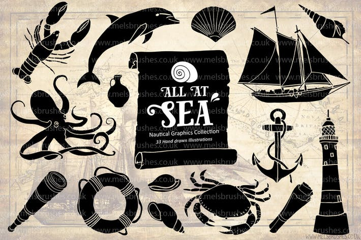 Thumbnail for Nautical Sea Hand Drawn Illustration Set