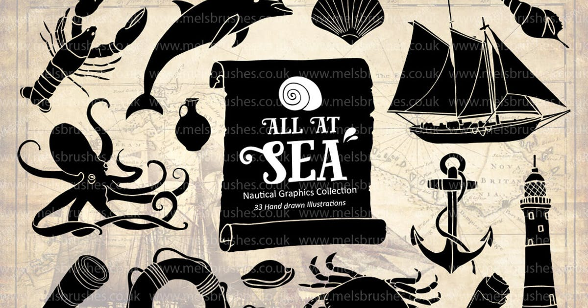 Download Nautical Sea Hand Drawn Illustration Set by melrodicq
