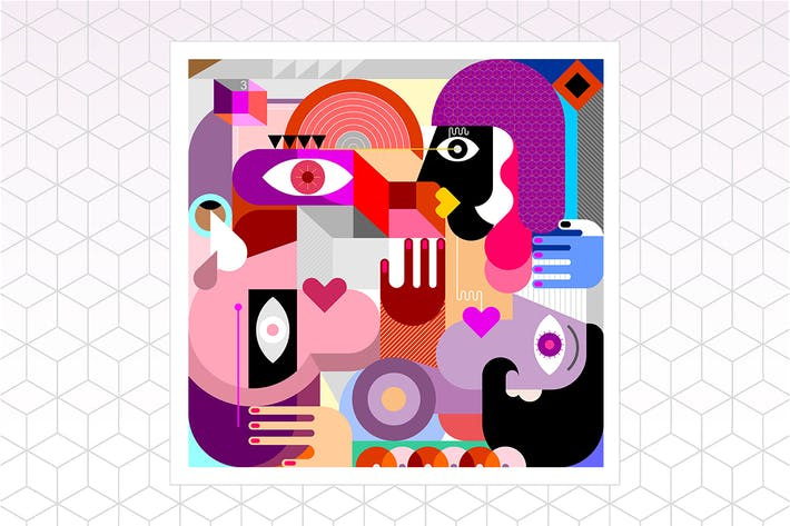Thumbnail for Three People Abstract Art Vector Portrait