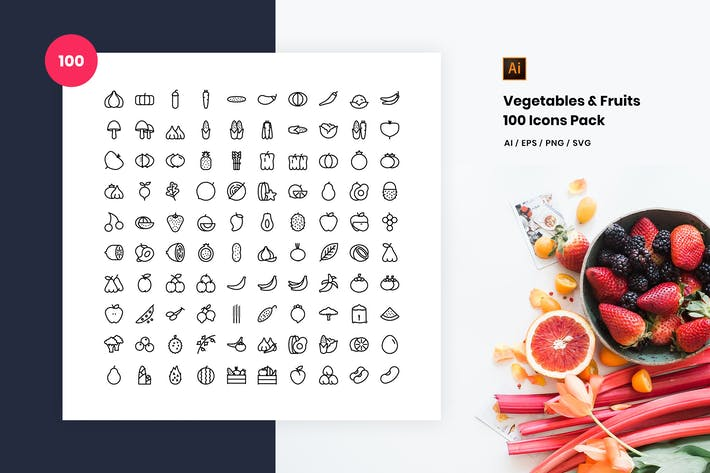 Thumbnail for Vegetables and Fruits 100 Icon Pack
