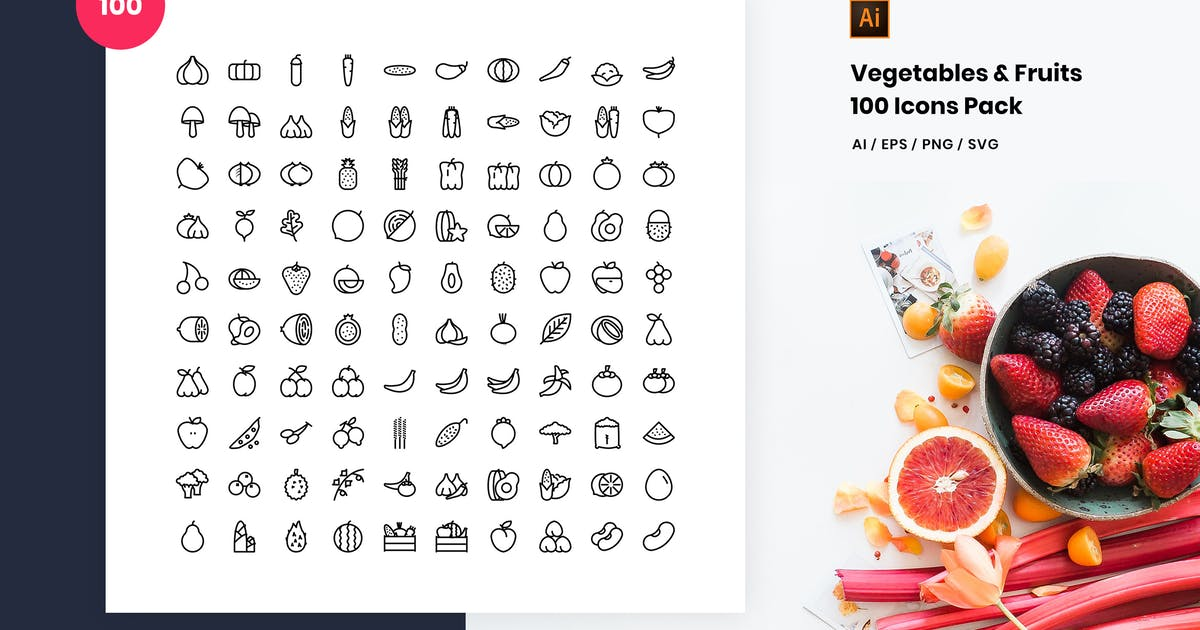 Download Vegetables and Fruits 100 Icon Pack by StringLabs
