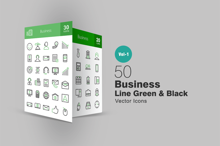 Cover Image For 50 Business Line Green & Black Icons