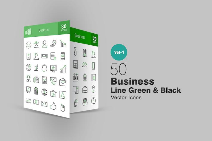 Thumbnail for 50 Бизнес Линии Зеленые и Черные Иконки