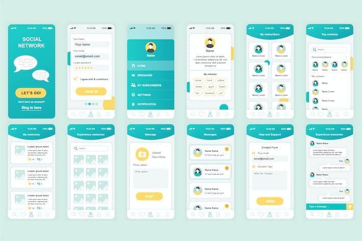 Thumbnail for Социальная сеть Мобильное Приложение UI Kit