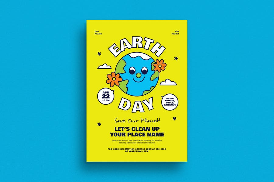 90s Style Earth Day Event Flyer
