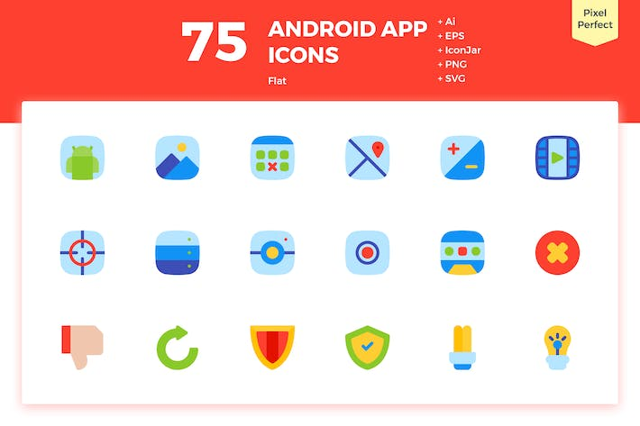 Thumbnail for 75 Android App Icons (Flat)