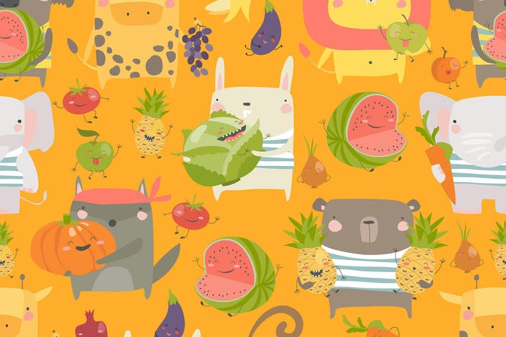 Thumbnail for Vector seamless pattern with cartoon animals