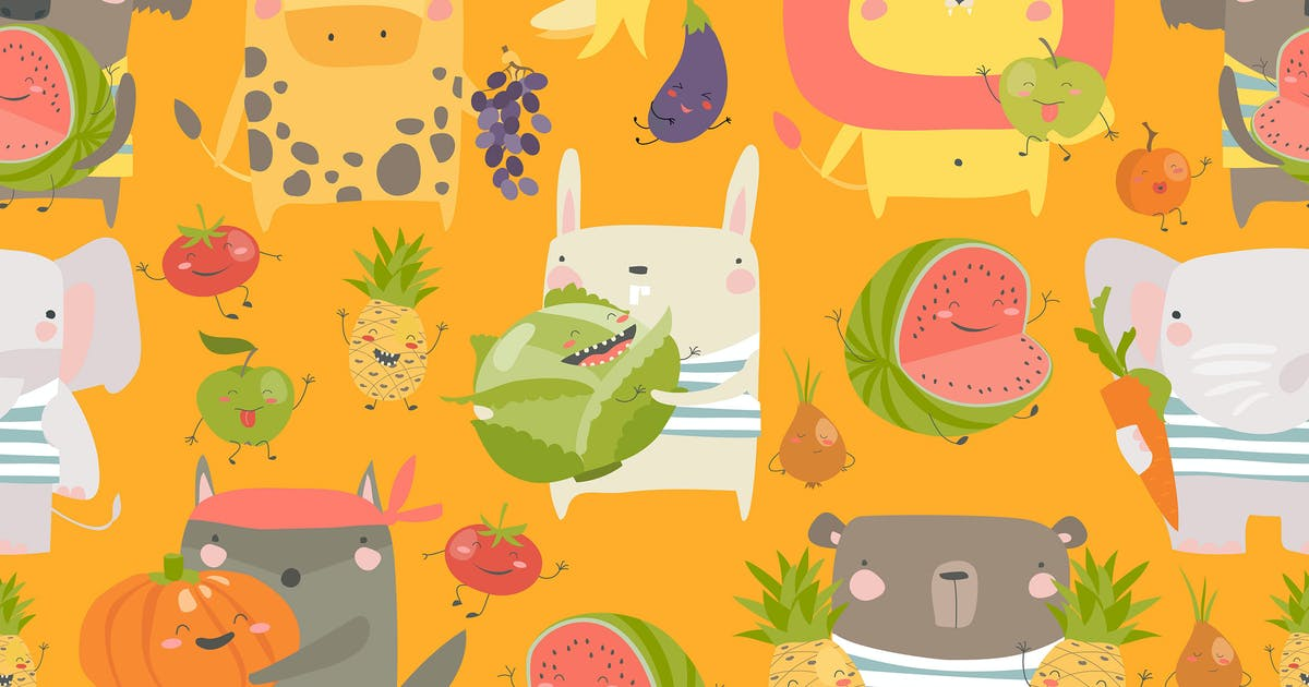 Download Vector seamless pattern with cartoon animals by masastarus