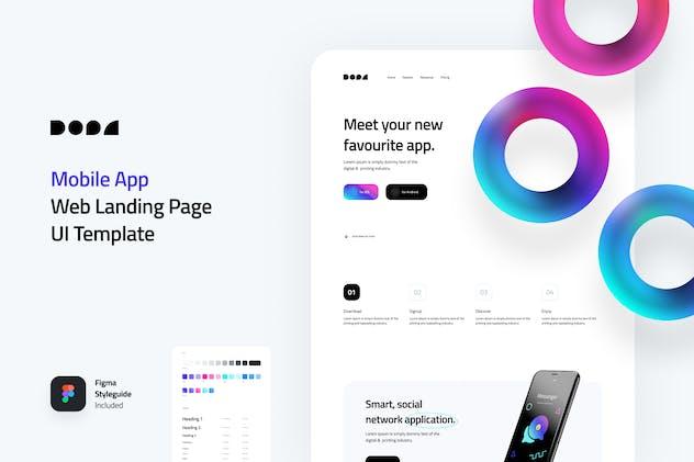 Dopa - Mobile AppWeb Landing Page UI Kit Template