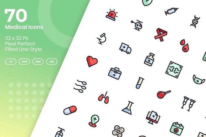 Thumbnail for 70 Медицинские Иконки Набор - Заполненная Линия