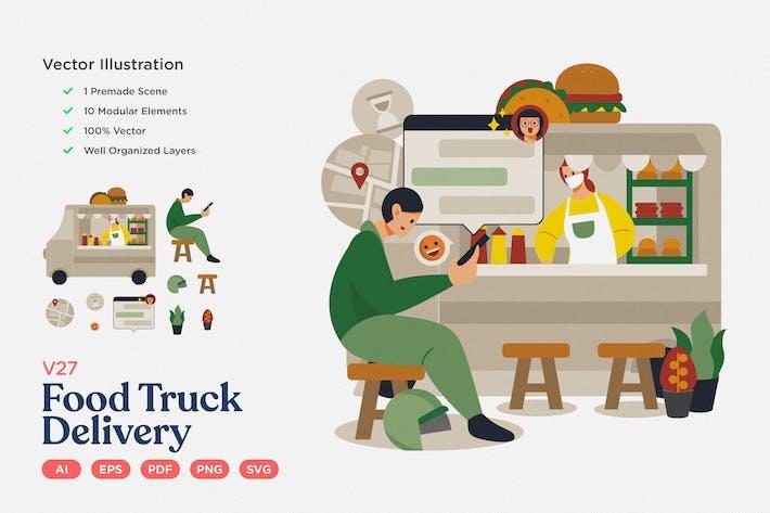 Thumbnail for Kulinarische Vektor Illustration: Food Truck