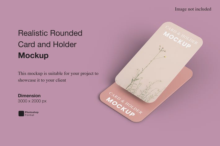 Realistic Rounded Card and Holder Mockup