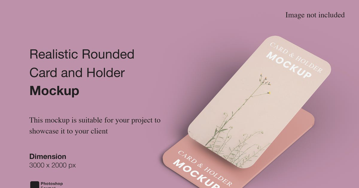 Download Realistic Rounded Card and Holder Mockup by IanMikraz