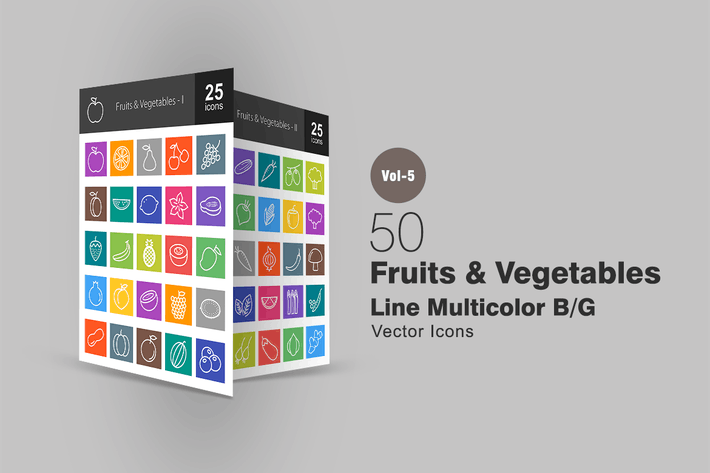 Thumbnail for 50 Fruits & Vegetables Line Multicolor Icons