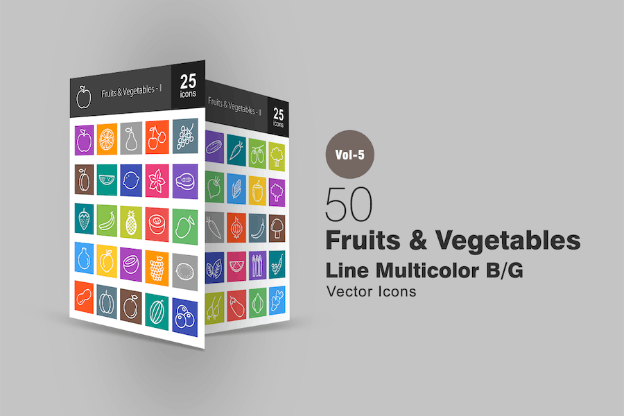50 Fruits & Vegetables Line Multicolor Icons