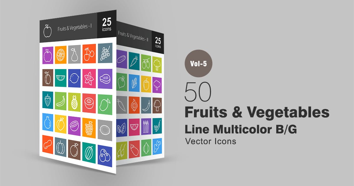 Download 50 Fruits & Vegetables Line Multicolor Icons by IconBunny