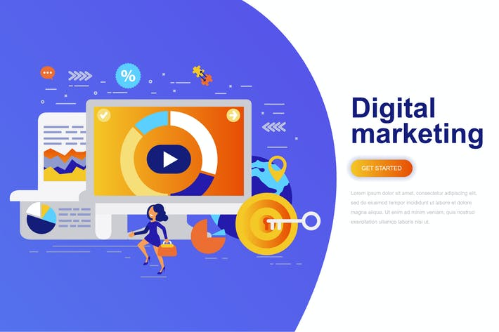 Thumbnail for Digital Marketing Modern Flat Concept