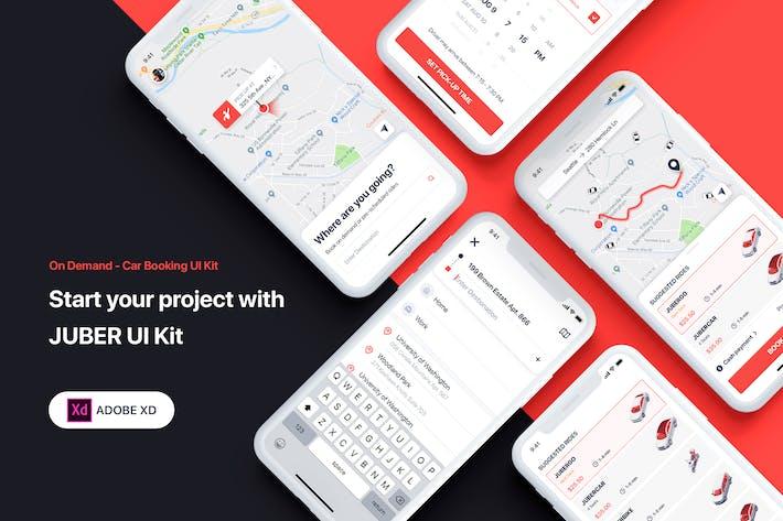 Thumbnail for JUBER - Car booking UI Kit for ADOBE XD