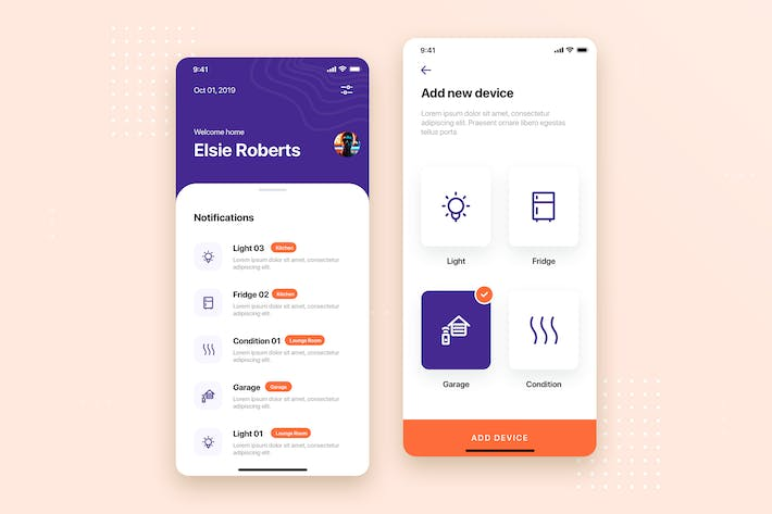 Thumbnail for Smart Home Mobile App UI Kit Template
