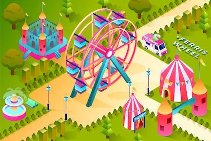Ferris Wheel - Isometric Illustration