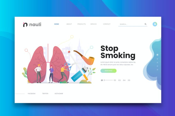 Cover Image For Stop Smoking Web PSD and AI Vector Template