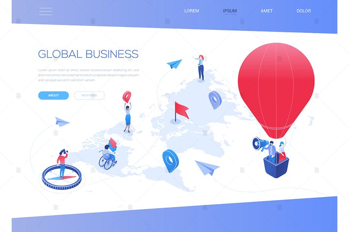 Thumbnail for Global business - colorful isometric web banner