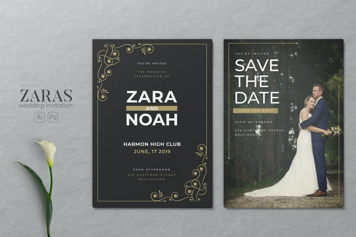 Thumbnail for Minimalist Wedding AI and PSD Invitation Vol.10
