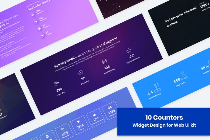 Thumbnail for 10 Statistics/Counter Widget Design for Web-UI Kit
