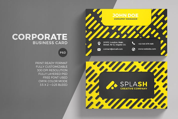 Cover Image For Yellow Corporate Business Card