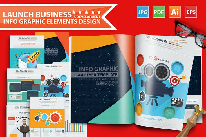 Thumbnail for Launch Business Infographic Design 17 Pages