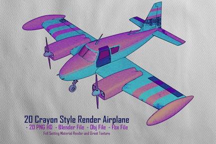 20 Crayon Style Render Airplane
