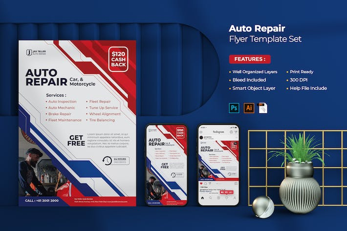 Thumbnail for Auto Repair Flyer Template Set