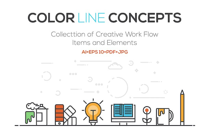 Thumbnail for Set of Flat Line Color Banners Design