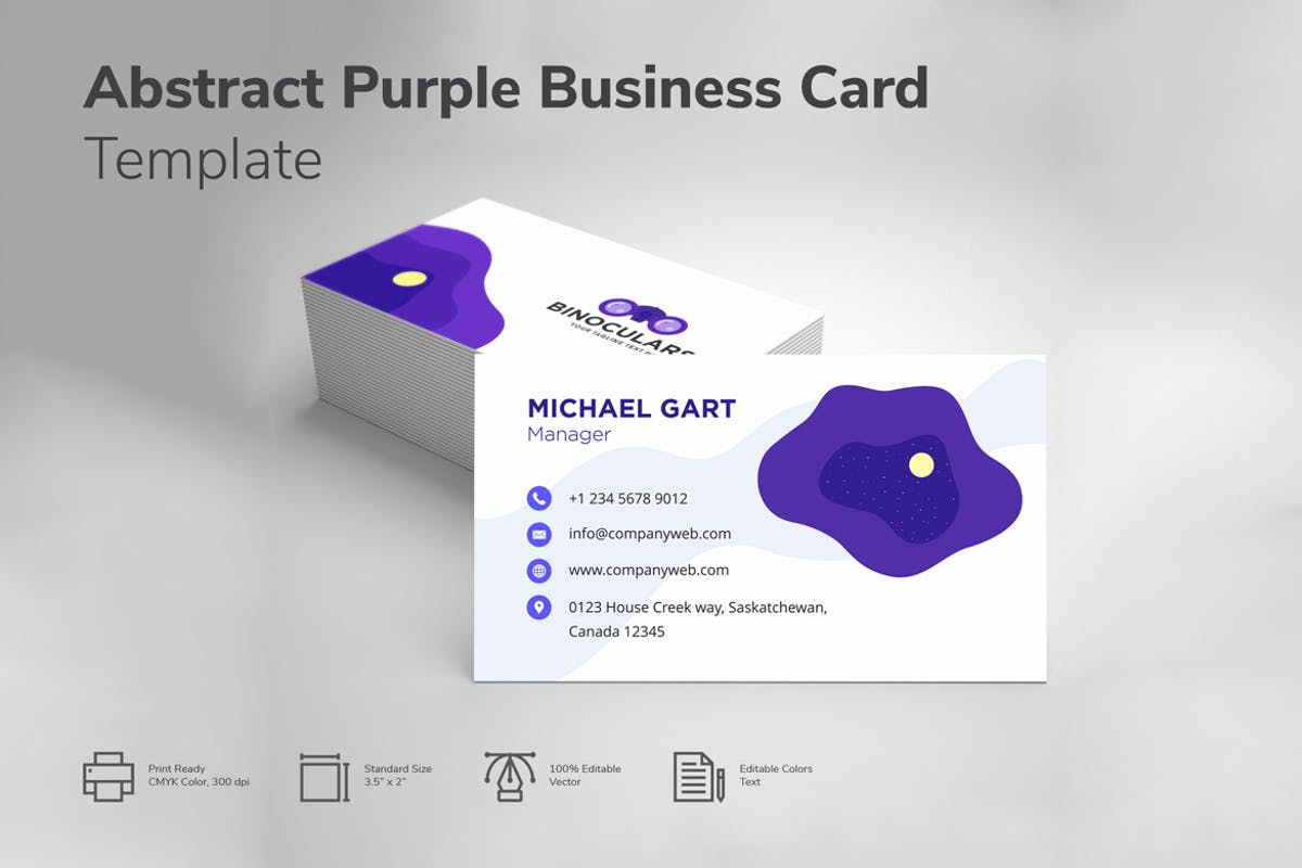 Abstract purple and white business card by iconbunny on envato elements reheart Choice Image