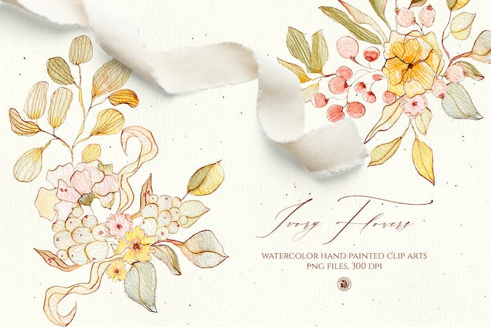 Thumbnail for Watercolor Ivory Flowers - floral set