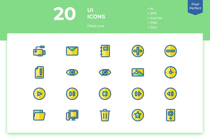 Thumbnail for 20 UI Icons (Filled Line)