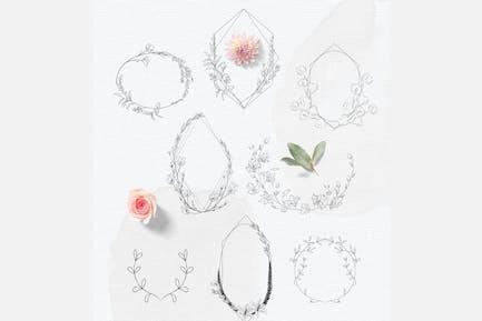 Hand-drawn floral frames, Feminine Wedding