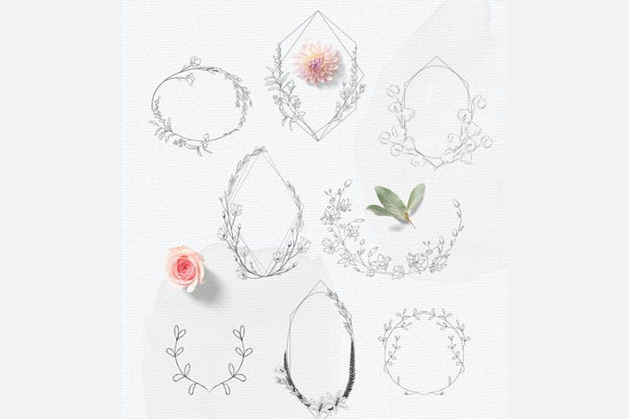 Thumbnail for Hand-drawn floral frames, Feminine Wedding