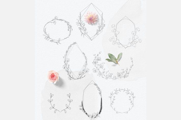 Thumbnail for Handgezeichnete Blumenrahmen, Feminine Wedding