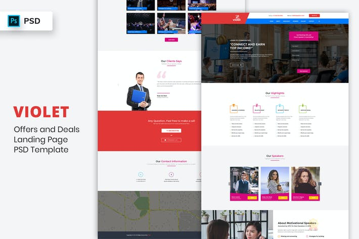 Thumbnail for Motivational Speakers - Landing Page PSD Template