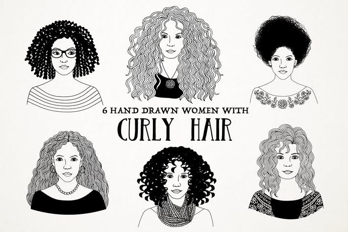 Hand Drawn Women With Curly Hair