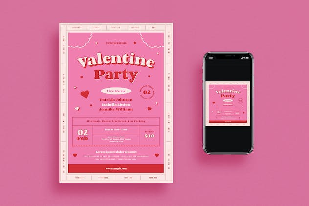 Valentine's Day Party Flyer Set