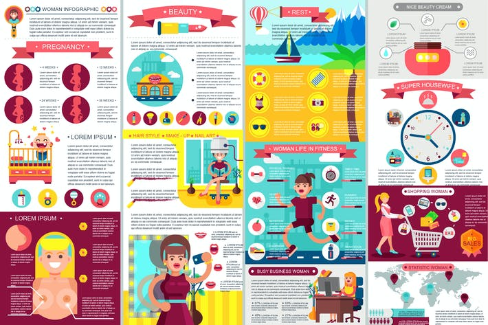 Thumbnail for Woman Infographic Elements