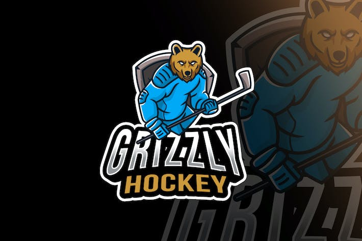 Thumbnail for Grizzly Hockey Sport Logo Template