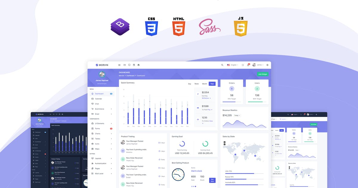 Download Morvin - Admin & Dashboard Template by themesdesign