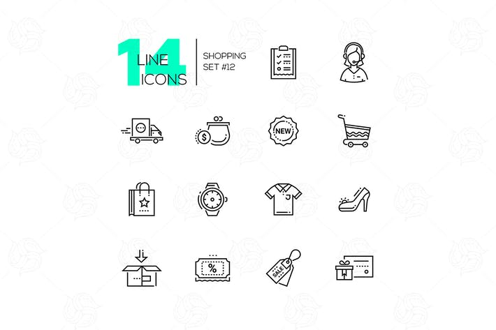 Thumbnail for Shopping - line icons set