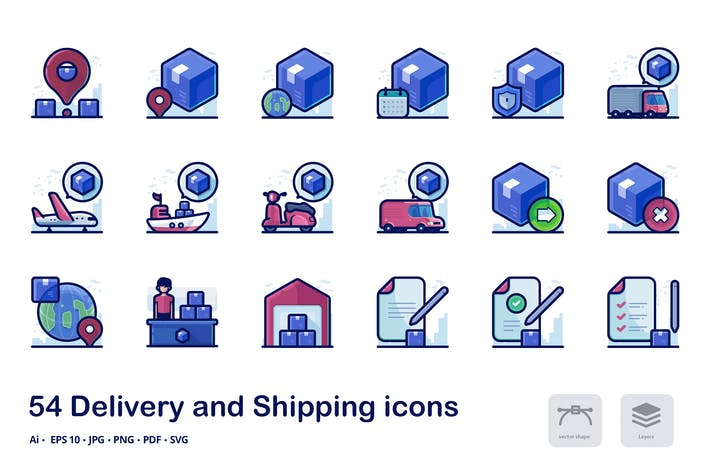Thumbnail for Delivery and Shipping filled outline icons