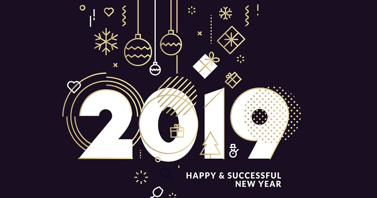 Download Business Happy New Year 2019 Greeting Card by PureSolution