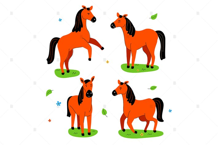 Thumbnail for Cute horse - flat design style set of characters